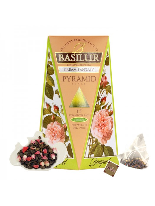 "Bouquet - ""Cream Fantasy"" Strawberry & Vanilla Green Tea (Pyramid Tea Bags)"
